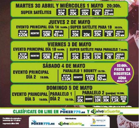 Programa de eventos del I Festival DeepStack de Poker770 en Castellón