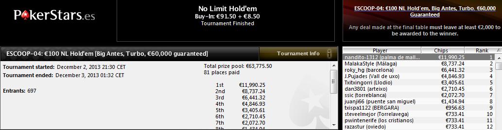 Victoria de 'nandito-1312' en el ESCOOP-04: 100€ NL Hold'em Big Antes Turbo de PokerStars.es.