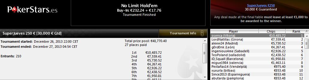 Victoria de osenca en el SuperJueves 250€ de PokerStars.es.