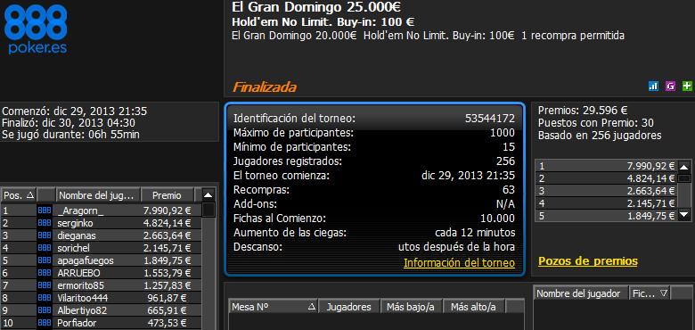 Victoria de '_Aragorn_' en El Gran Domingo 25.000€ de 888poker.es.