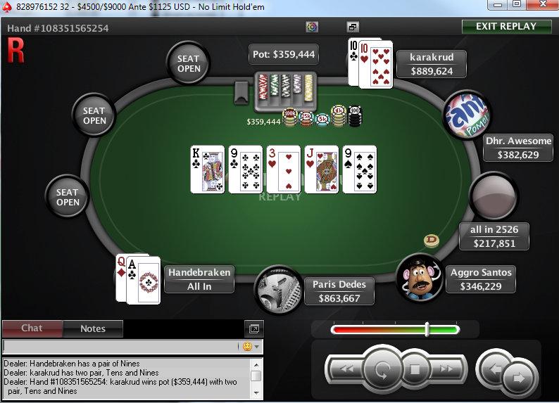 Mano de la eliminación de Marcos Paneque en el Super Tuesday de PokerStars.com