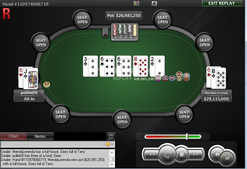 Mano de la victoria de MendaLerenda en The Big $11 de PokerStars.com.