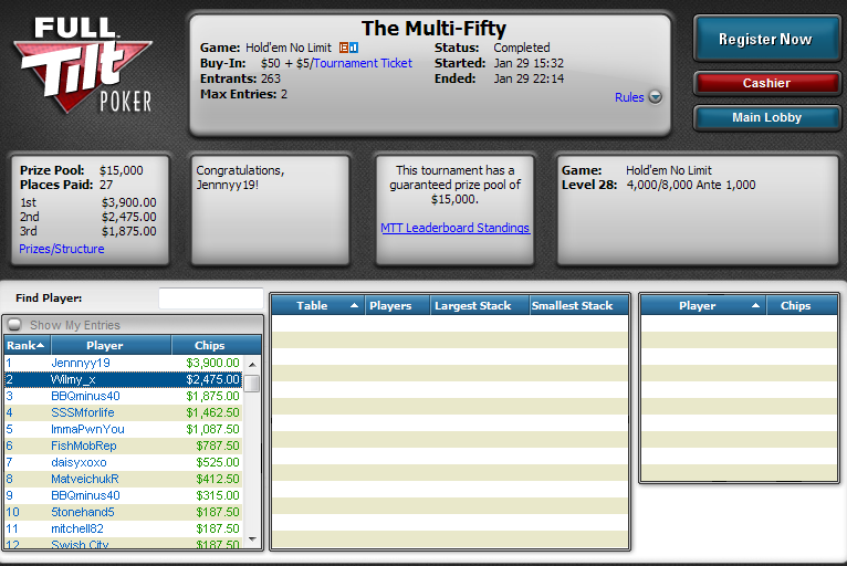 2.º lugar de Williy Aranzadi en The Multi-Fifty de Full Tilt Poker.