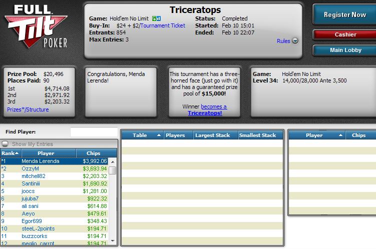 Triunfo de Óscar Serradell 'MendaLerenda' en el Triceratops de Full Tilt Poker.