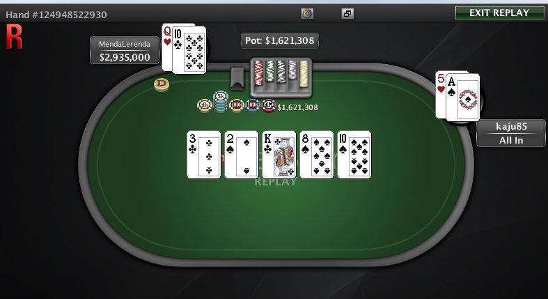 Mano de la victoria de Óscar Serradell en el Super Tuesday de PokerStars.com.