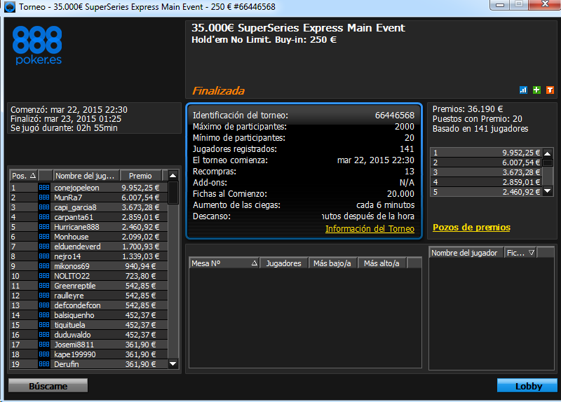 Triunfo de conojopeleon en el 35.000€ SuperSeries Express Main Event de 888poker.es.