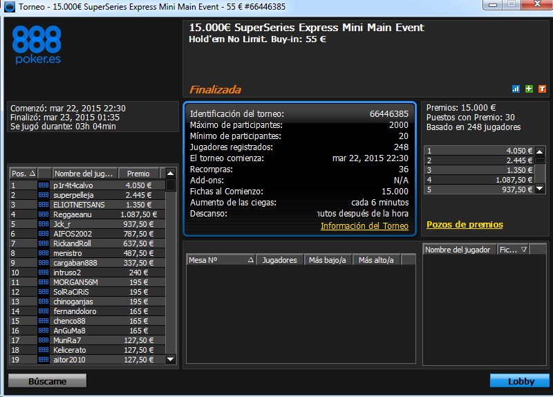 Victoria de p1r4t4calvo en el 15.000€ SuperSeries Express Mini Main Event de 888 poker.es.