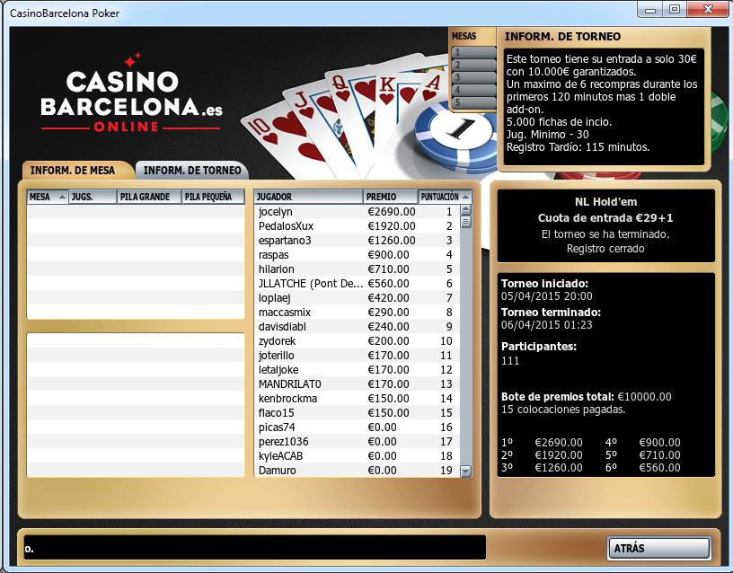 Triunfo de jocelyn en el 10.000€ Garantizados de casinobarcelona.es.