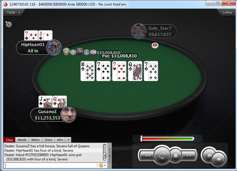 Mano del poker de sietes.