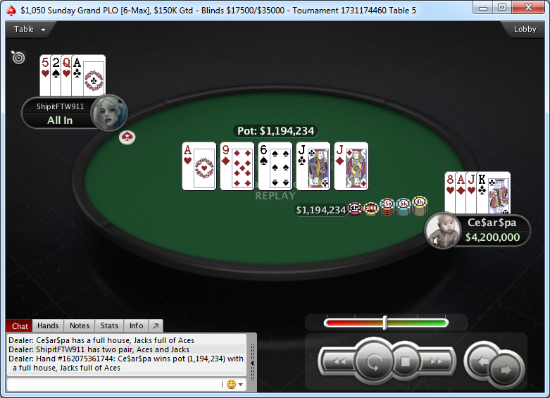 Mano final del Sunday Grand PLO.