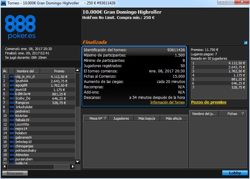 Victoria de utg_is_my_d en el €10K Gran Domingo Highroller de 888poker.es