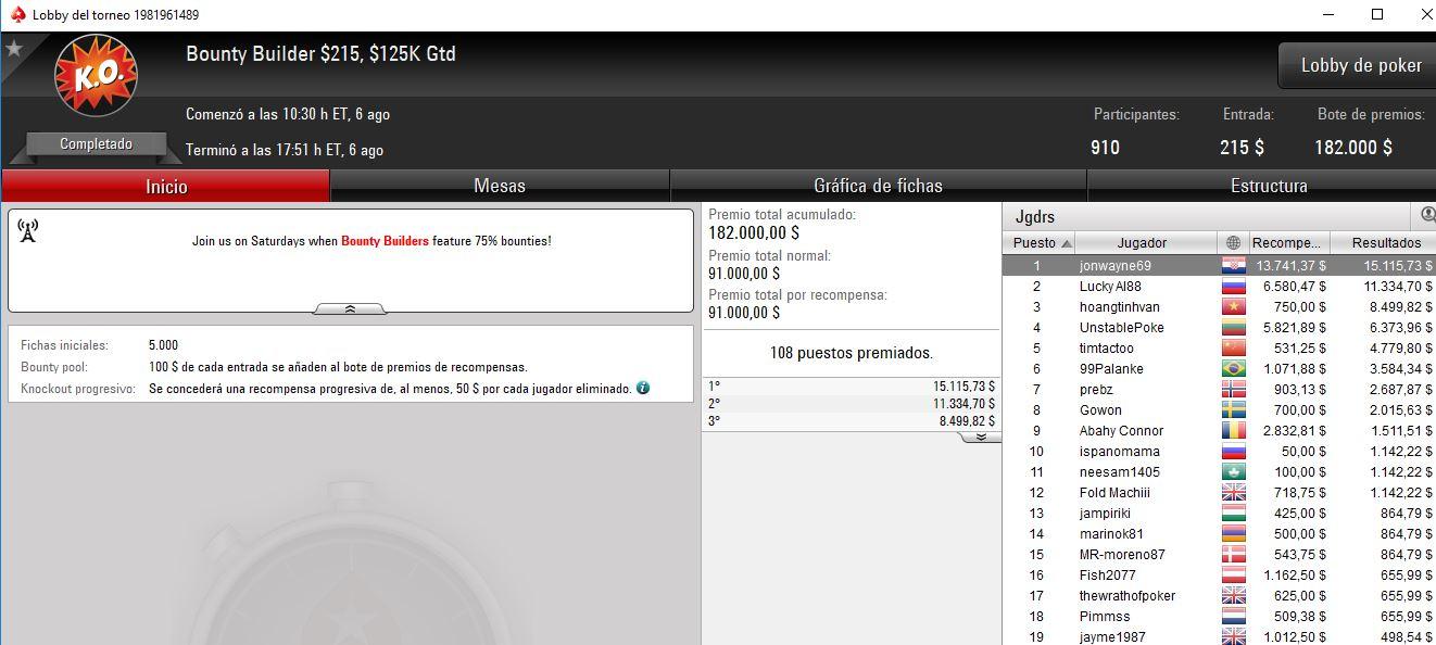 1.º lugar de jonwayne69 en el Bounty Builder 215$ de PokerStars.com