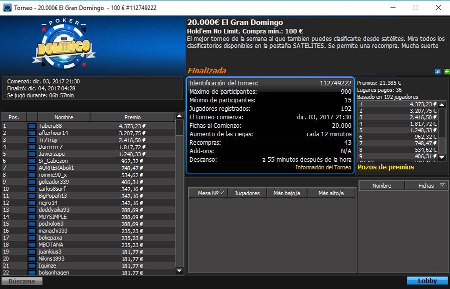 Victoria de Tabera88 en el 20.000€ El Gran Domingo de 888poker.es.