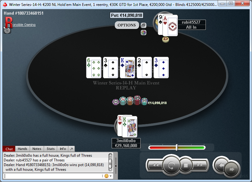 Mano final del Main Event H de las WS de PokerStars.es.