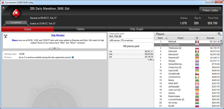 2.º lugar de Miguel Riera en el Daily Marathon de PokerStars.com.
