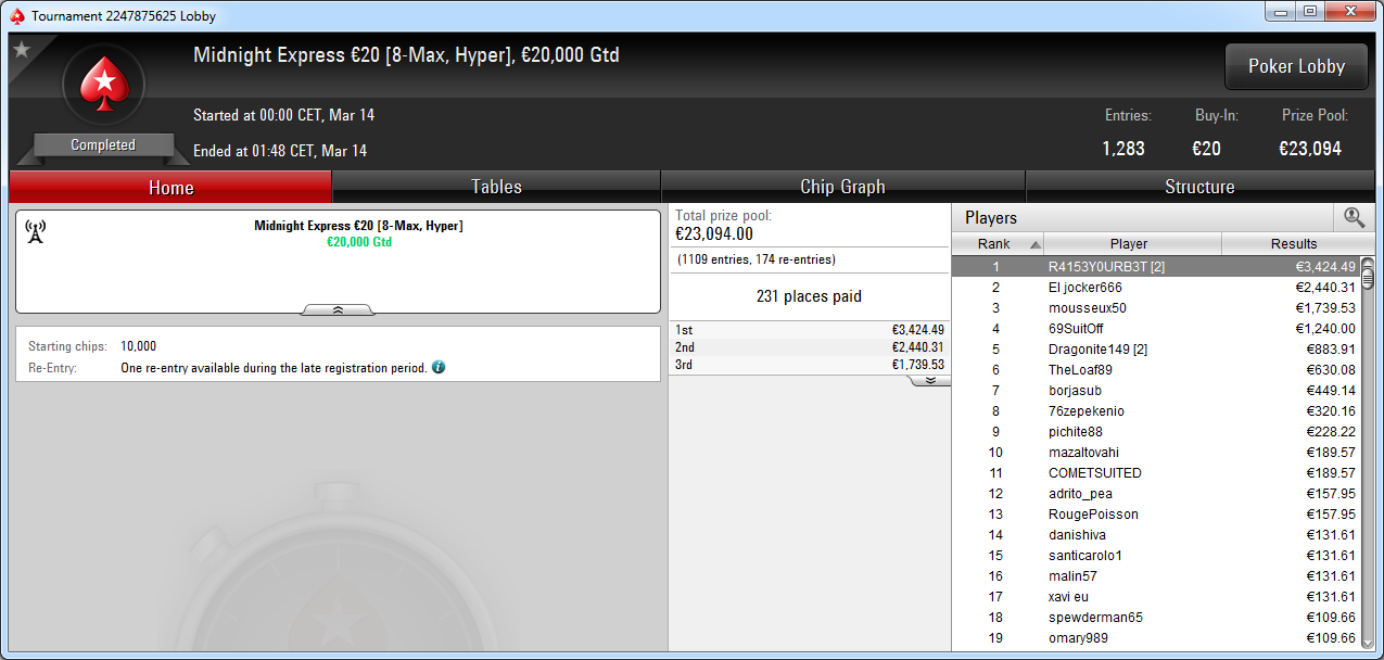 Victoria de R4153Y0URB3T en el Midnight Express de PokerStars Europe.