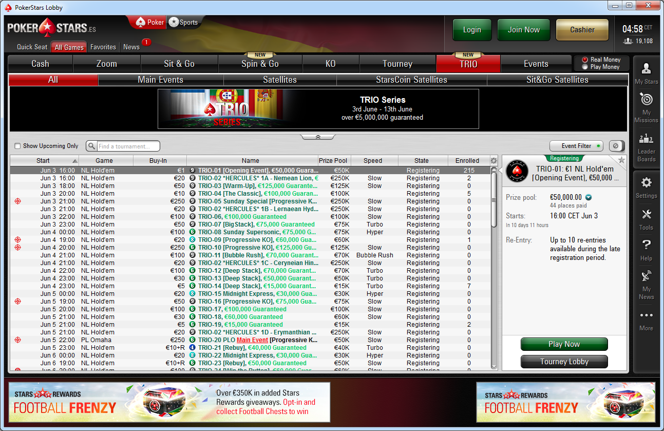 Lobby de las Trio Series de PokerStars