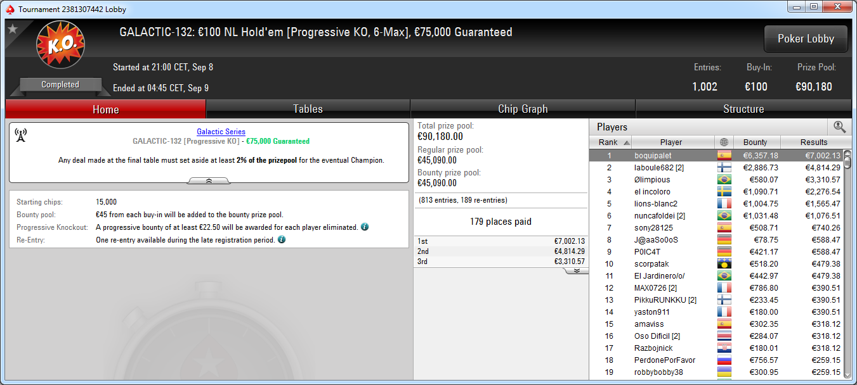 Victoria de boquipalet en el GS-132 de PokerStars.es.