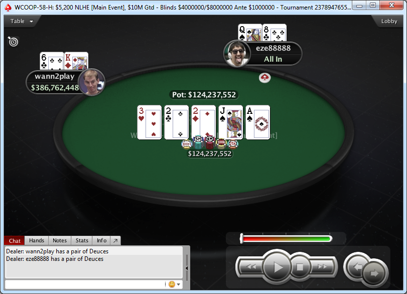 Mano final del Main Event-H del WCOOP 2018.