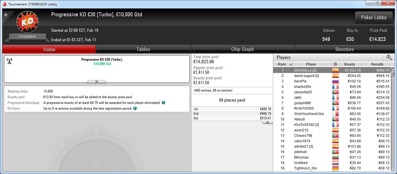 Victoria de 5DeSkiLLs en el PKO 30€ de PokerStars .frespt