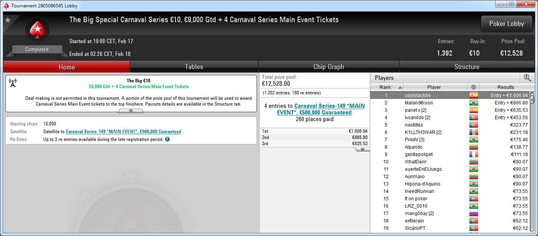 Victoria del español coolstack84 en el Big 10€ de PokerStars .frespt.