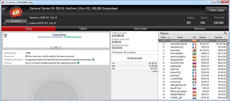 Victoria de durant655 en el CS-34 50€ NLHE de PokerStars .frespt