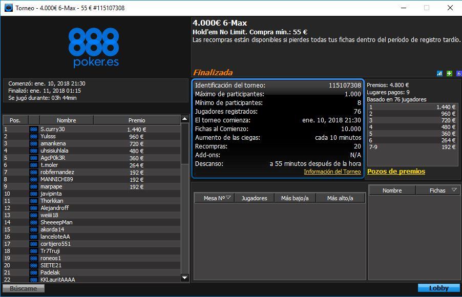 Victoria de S.Curry30 en El 6 Max de 888poker.es.
