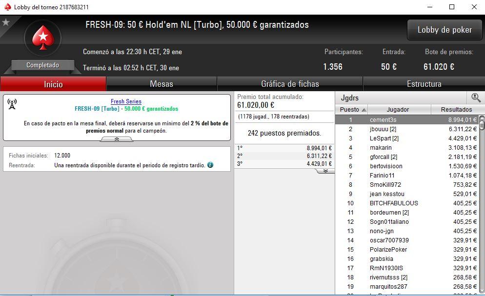 Triunfo de 'cement3s' en FRESH-09 50k gtd. de PokerStars.es.