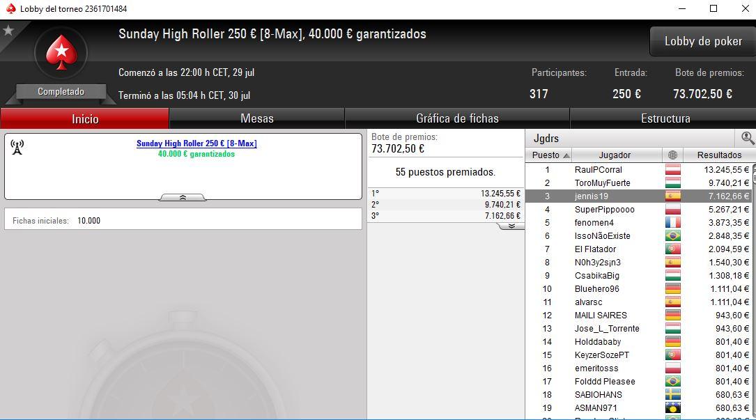 Victoria de RaulPCorral en el High Roller de PokerStars.es.