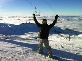 La otra pasión de Pakitov es el snowboard
