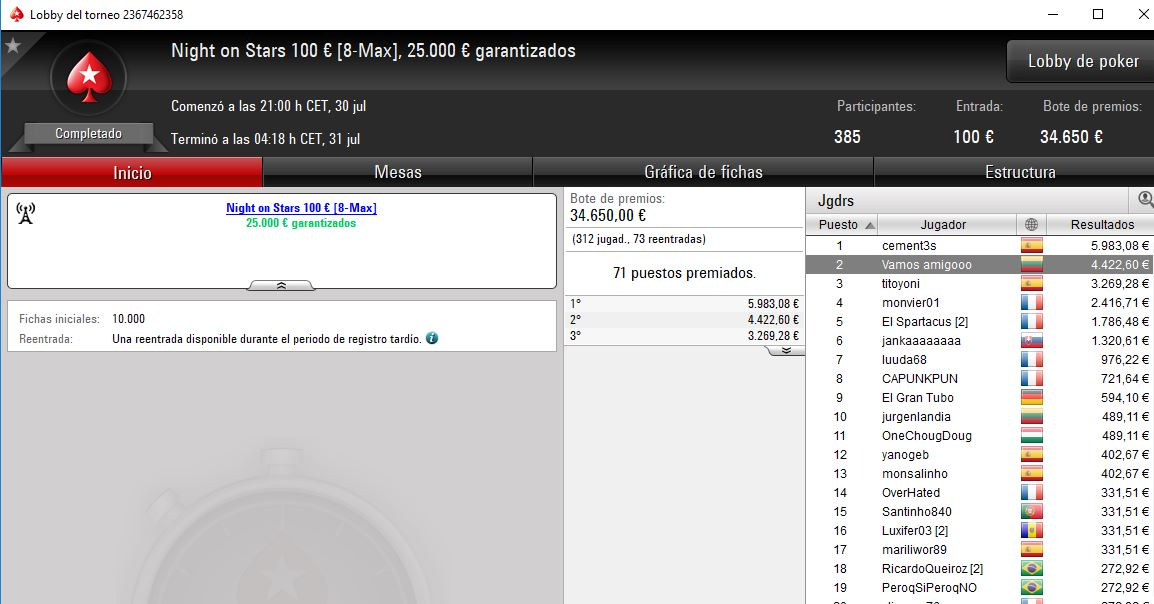 Victoria del español cement3s en el Night on Stars de PokerStars.es.