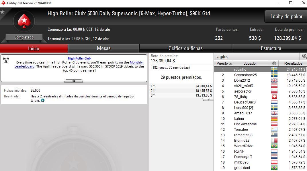 2º puesto de Amadi_017 en el HRC Daily Supersonic de Pokerstars.com